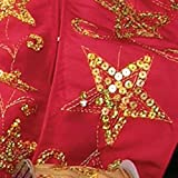 Red Taffeta Sequined Stars Wired Craft Ribbon 4'' x 20 Yards