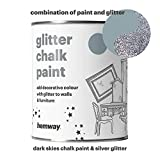 Hemway Dark Skies Chalk Paint (with Silver Glitter) Sparkle Matt finish Wall and Furniture Paint 1L / 35oz Shabby Chic Vintage Chalky Crystal (25 Glittery Colours Available)