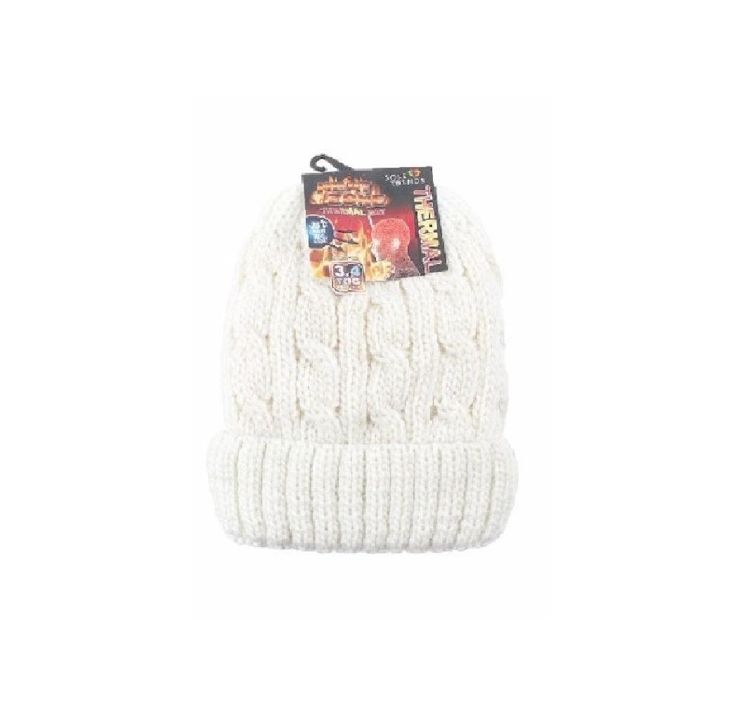DINY Home & Style Ladies Heated Hat Thermal Cap Insulated Lined Interor To Keep Heat from Escaping Keeping You Warm (White)