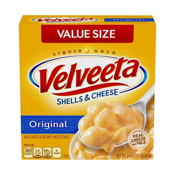 VELVEETA Original Microwavable Shells & Cheese Cups,  Single Serving Cups with Delicious Velveeta Cheese Sauce | Convenient & Ready in 3.5 Minutes, 19.1 Ounce (Pack of 1)