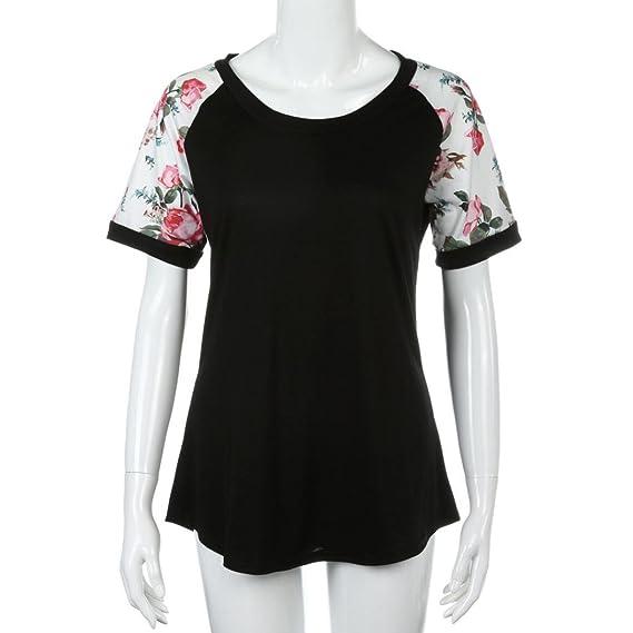 OVERDOSE Damen Kurzschluss Hülsen Blumen Gedrucktes Blusen beiläufiges  Oberseiten T-Shirt Bluse Tops Hemd: Amazon.de: Bekleidung