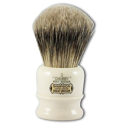 Simpsons Chubby 2 Best Badger Hair Shaving Brush in Imitation Ivory
