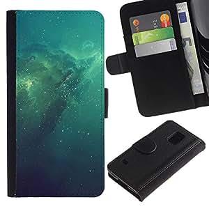NEECELL GIFT forCITY // Billetera de cuero Caso Cubierta de protección Carcasa / Leather Wallet Case for Samsung Galaxy S5 V SM-G900 // Azul Espacio Galaxy