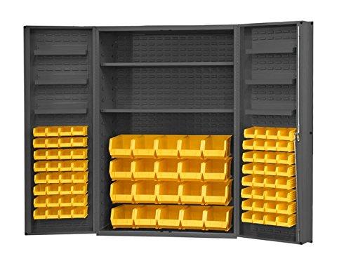 Durham Heavy Duty Welded 14 Gauge Steel Cabinet with 84 Bins and 6 Door Shelves, DC48-842S6DS-95, 900 lbs Capacity, 24'' Length x 48'' Width x 78'' Height, 2 Shelves