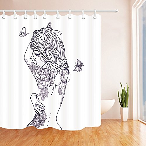 (Chengsan Girly Decor Shower Curtain Set, Young Girl with Tattoos and Butterflies Free Your Soul Inspired Long Hair Feminine Image, Bathroom Accessories(59x71inch, Girl))