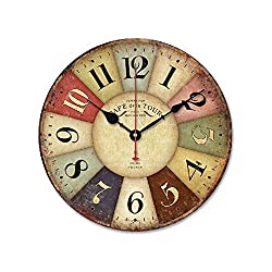 Tangibler-12 Vintage Roman Numeral Design France Paris Rusted Metal Look French Country Tuscan Style Paris Wood Wall Clock (Style2)