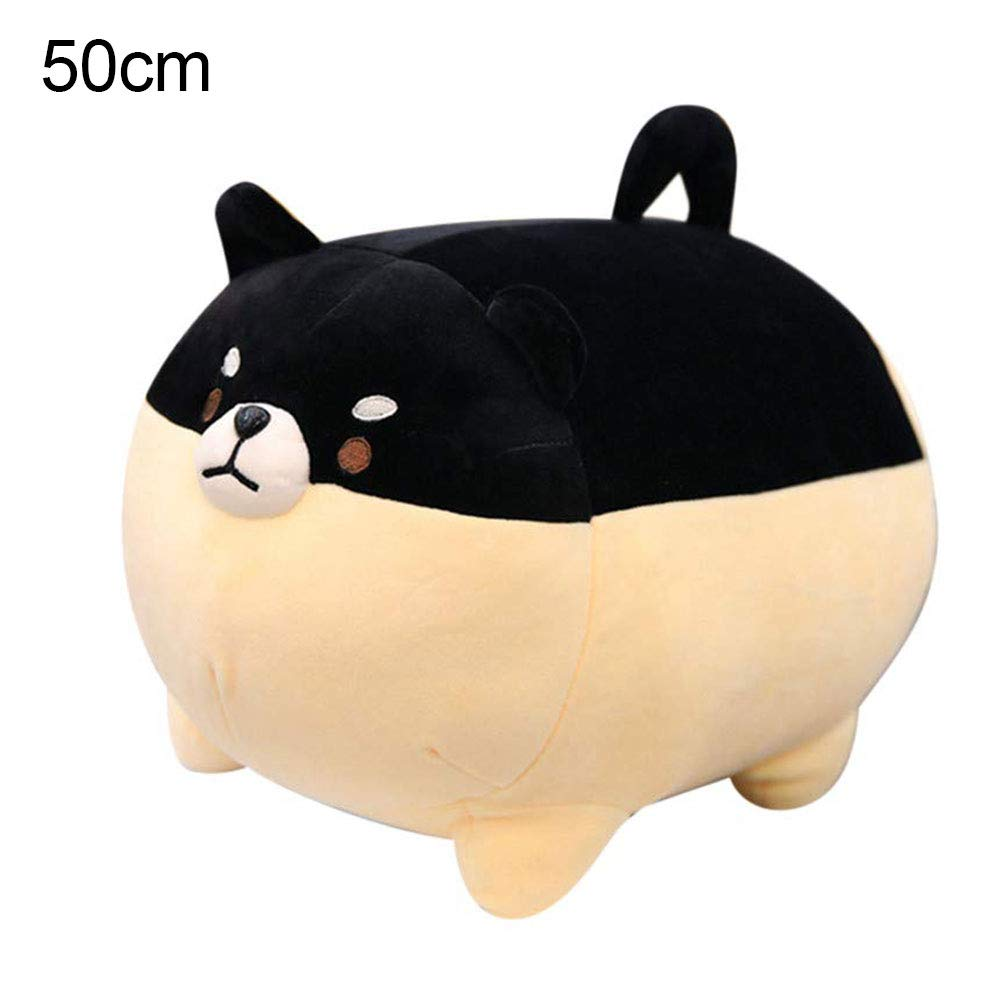 eroute66 Mini Cute Fat Stuffed Puppy Shiba Inu Throw Pillow Cushion for Living Room Sofa Bedroom Car Pillow Case Sofa Waist Throw Pillow Black 50cm