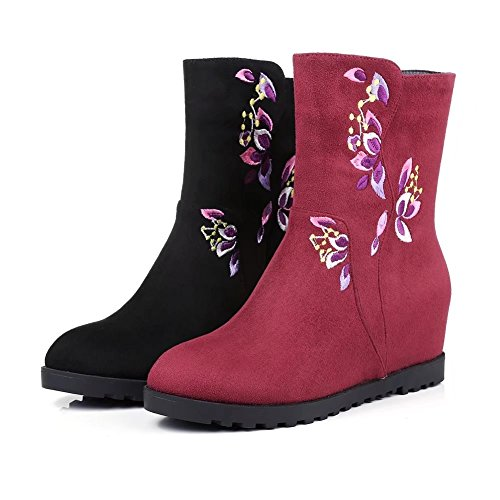With Embroidered Zip Ankle KingRover Shoes Black Size Wedge Heels Boots Platform Women's wAwYqxp1