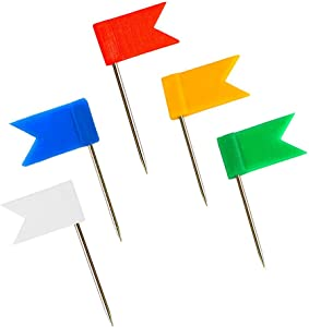 Outus 60 Pieces Multi-Color Map Flag Push Pins, Assorted Colors