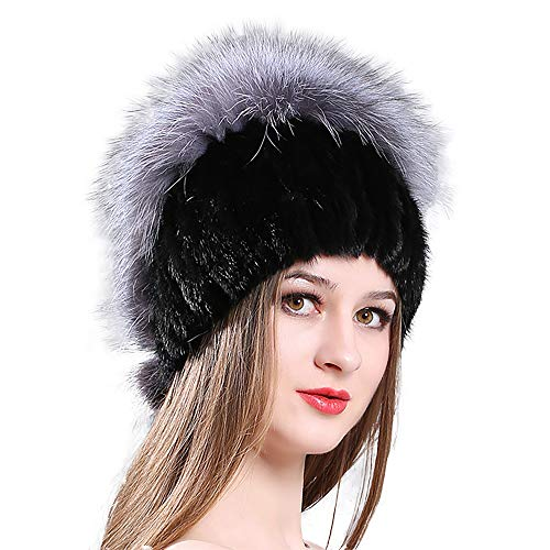 - eosxrp New Women's Mink Hat Fashion Fox Fur Hat Winter Warm Thick Versatile Fur Cap (Black + Gray)