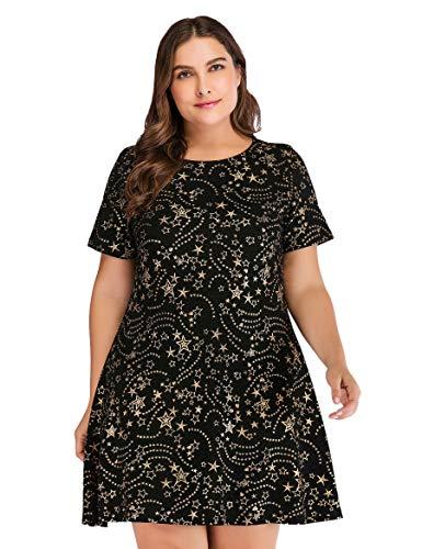 (OEUVRE Women's Summer Basic Long Sleeve Stretch Dress Plus Size Metallic Star Print Jersey BlackGold XL )