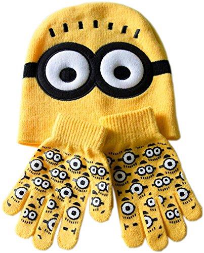 Bettyhome Unisex Baby Toddler Two Eyes Crochet Hat Cap Gloves Set (yellow)