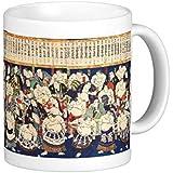 二代目 歌川国輝『 大日本大相撲勇力関取鏡 』のマグカップ 1:フォトマグ*(浮世絵シリーズ) (『大日本大相撲勇力関取鏡』の左側)