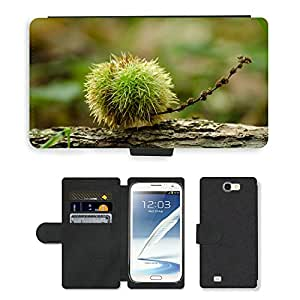 PU LEATHER case coque housse smartphone Flip bag Cover protection // M00152409 Otoño otoñal Fondo marrón // Samsung Galaxy Note 2 II N7100