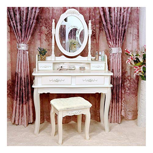 White Vanity Makeup Dressing Table Set w/Stool 4 Drawer&Mirror Jewelry Wood Desk