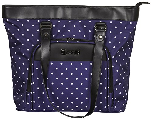 "Kenneth Cole Reaction Dot Matrix 600d Polka Dot Polyester 15.6"" Top Zip Travel Tote, Navy"
