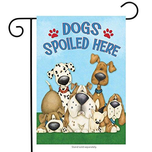 Dog Garden - Dogs Spoiled Here Garden Flag Humor Puppies 12.5