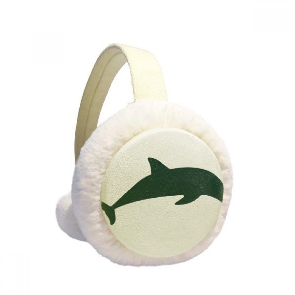 Blue Ocean Streamline Swimming Dolphin Winter Earmuffs Ear Warmers Faux Fur Foldable Plush Outdoor Gift