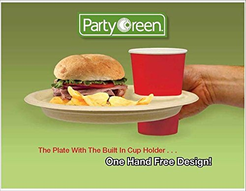 Amazon.com 3 Pk Party Green Plates with Built-in Cup Holder - 12 Pack (Total of 36) Kitchen u0026 Dining & Amazon.com: 3 Pk Party Green Plates with Built-in Cup Holder - 12 ...