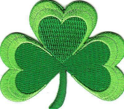 SHAMROCK, -GREEN CLOVER, ST. PATRICK'S DAY, IRISH, LUCKY-Iron On Patch ()