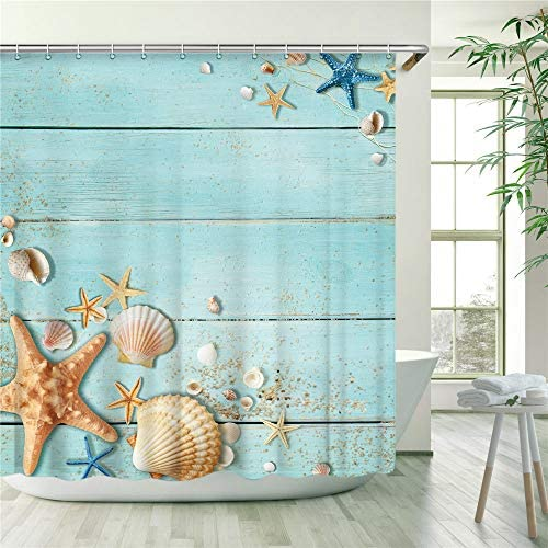 """Stacy Fay Beach Shower Curtain, Shower Curtains Sets with 12 Hooks, Blue Wooden Rustic Shower Curtain, Machine Washable,Dry Quickly, 72"""" X 72"""", Teal Seashell and Starfish on The Coastal"""