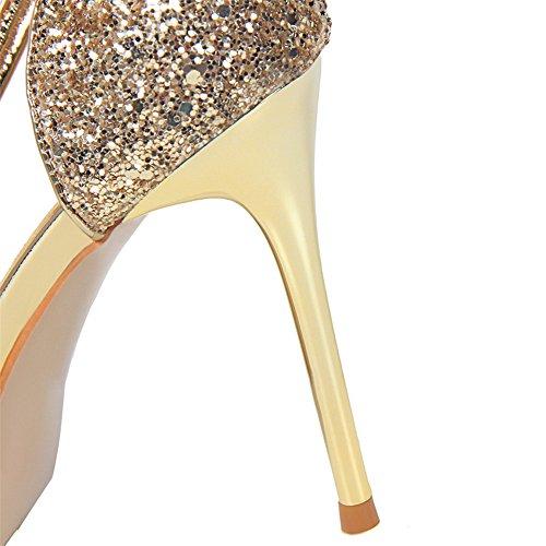 z&dw Tacón fino tacones altos boca baja punta hueca lentejuelas sexy delgada con sandalias Oro