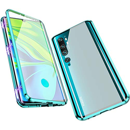 Compatible with Xiaomi Mi Note 10 / CC9 Pro Case, Jonwelsy 360 Degree Front and Back Transparent Tempered Glass Cover, Strong Magnetic Adsorption Technology Metal Bumper for Xiaomi Mi CC9 Pro (Green)