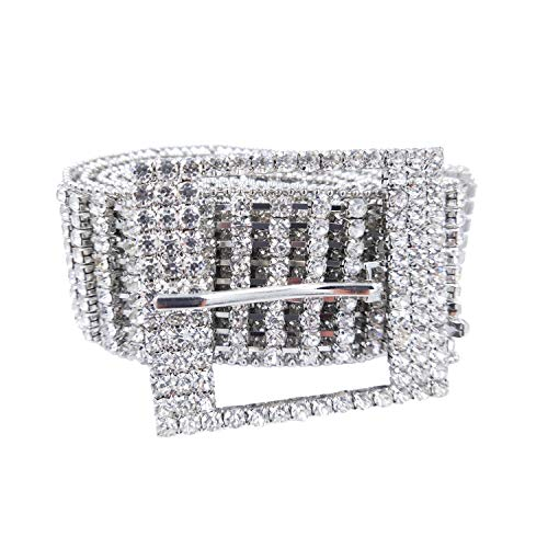 (Women's Crystal Rhinestone Chain Waist Buckle Belt with Metal Beads Around Luxury Sparkling Sash Waistband Accessory,49inch)