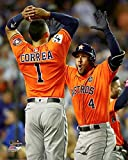 The Houston Astros, Carlos Correa & George Springer Celebrate The Home Run During Game 7 Of The 2017 World Series 8x10 Photograph Picture. (cora,Spring)