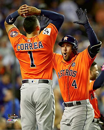 (The Houston Astros, Carlos Correa & George Springer Celebrate The Home Run During Game 7 Of The 2017 World Series 8x10 Photograph Picture. (cora,Spring))