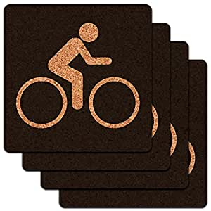 Biking Cycling Symbol Low Profile Cork Coaster Set