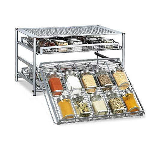 Spice Rack Organizer for Cabinets Storage, Pull Out Spice Drawer Kitchen Organization Containers for 30-60 Glass Bottle, Slide Out Cabinet for Pantry, Makeup, Nail Polish, Medicine, Silver