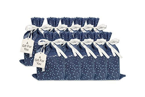 Medium Premium Fabric Gift Bags (Pack of 10) Organza with Lining Satin Ribbon Holiday Christmas - Blue Polka Dot Print  15