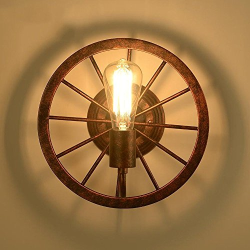 CGJDZMD Wall Sconce Creative Retro Restaurant Bar Wrought Iron Industry wheel wall lamp, Vintage Wall Lamp Lights Shade Industrial Edison Metal for Coffee Bar Kitchen E27 Bicycle Wheel Shape by CGJDZMD