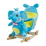 Karmas Product Kids Plush Rocking Horse with Wheels Lovely Elephant Shape Blue