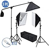 2400W Photography Studio Photo Light Stand Continuous Lighting Kit 3 Softbox All-in-One Bag and Move your Studio