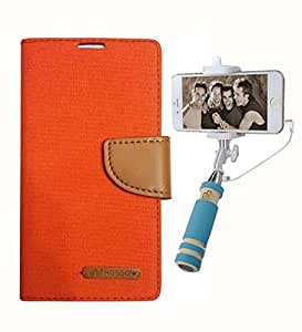 Aart Fancy Wallet Dairy Jeans Flip Case Cover for MotorolaMotoE (Orange) + Mini Fashionable Selfie Stick Compatible for all Mobiles Phones By Aart Store