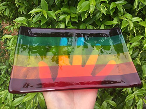 (Rainbow Fused Glass Fruit Tray)