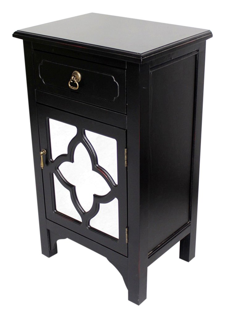 Heather Ann Creations Standing Single Drawer Distressed Storage Cabinet with Clover Glass Mirror Window Inserts, 30'' x 18'', Black