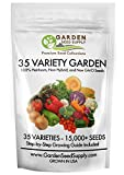 15,200+ Non GMO Heirloom Vegetable Garden Seeds 35 Varieties & Fruit - Survival, Easy to Grow Gardening +FREE Grow Guide - USA Family Farm Certified Seed Company- Portion of Purchase to Charity