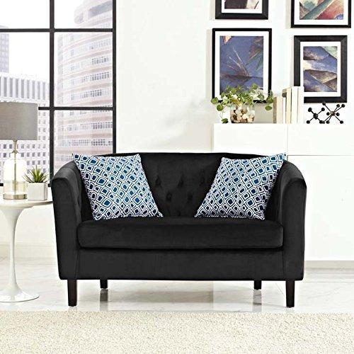Modway EEI-2615-BLK Prospect Velvet Black, Loveseat, Black Velvet Fabric