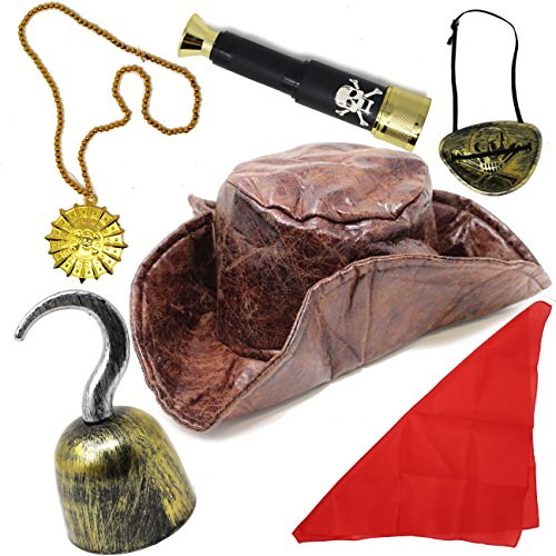 6 Pieces Leatherette Tri-fold Caribbean Pirate Hat Pirate Costume Accessory Set for Adult