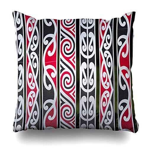 - Ahawoso Throw Pillow Cover Square 20x20 Brown Polynesian New Zealand Maori Fens Rotorua Shape Red Pattern Tribal Kowhaiwhai Koru Korowai Pillowcase Home Decor Cushion Pillow Case