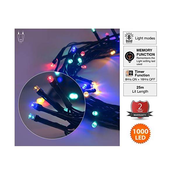 ANSIO Luci natalizie per interni e esterno 1000 LED albero luci Multi Colore, 8 modalità con memoria e funzione timer, alimentate, trasformatore incluso 25m Lunghezza illuminata- CAVO VERDE 4 spesavip