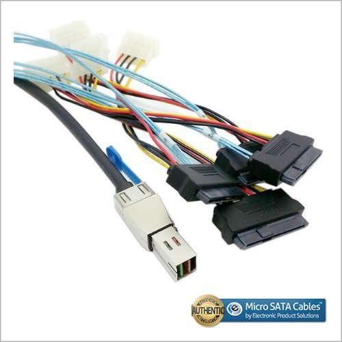 Micro SATA Cables External Mini SAS HD SFF-8644 to 4 x 29-Pin SAS SFF-8482 Cable 1 Meter
