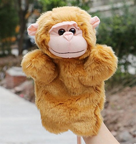 Chusea Funny Puppets Cute Cartoon Animal Doll Kids Glove Hand Puppet Soft Plush Toys Zoo Farm Story Telling Tools for School Parents(Monkey Mother)