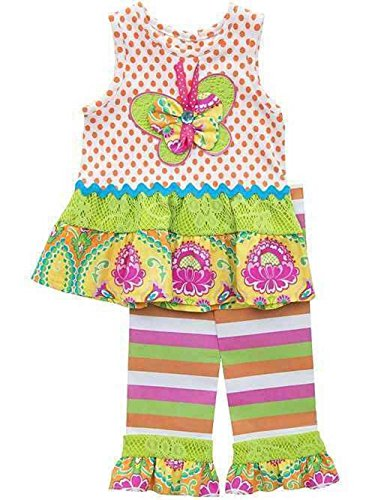 Counting Daisies Ruffled Butterfly Dress & Striped Leggings Set (6)