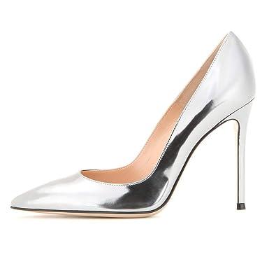 485418dc04e5db EDEFS Escarpins Femme - Sexy High Heel Shoe - Stiletto Argent Escarpin - Chaussures  Talons Aiguilles
