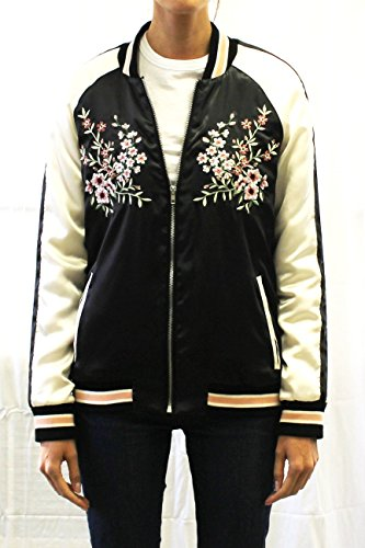 Women's Floral Embroidered Satin Zip Up Classic Quilted Coat Short Bomber Jacket, Black, Large