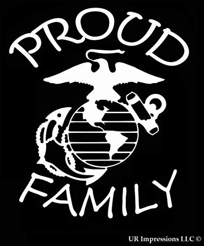 - UR Impressions Proud Marine Family Decal Vinyl Sticker Graphics for Cars Trucks SUV Vans Walls Windows Laptop|White|7 X 5.5 Inch|URI423